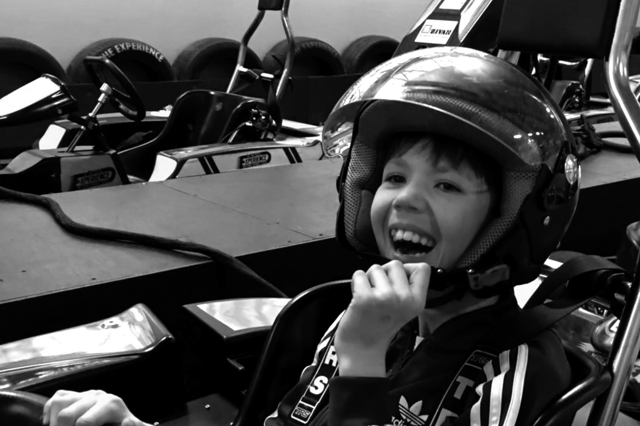 Grant in a go-kart